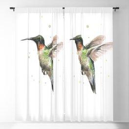 Hummingbird Watercolor Blackout Curtain