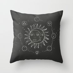 Moon, sun and elements Throw Pillow