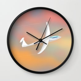 Glider flying at sunset Wall Clock