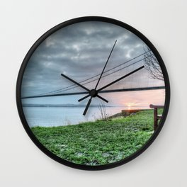 Sunset at the Humber Bridge Wall Clock