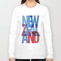 new zealand Long Sleeve T-shirts featuring New Zealand by Feb Studios