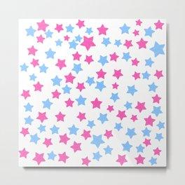 Pink and Blue Stars Metal Print