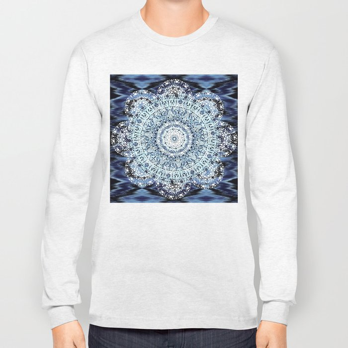 Blue Ikat Mandala Long Sleeve T-shirt