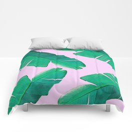 Banana Palm, muck and teal Comforters