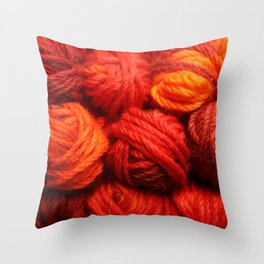 Many Balls of Wool in Shades of Red #society6 #decor #buyart Throw Pillow