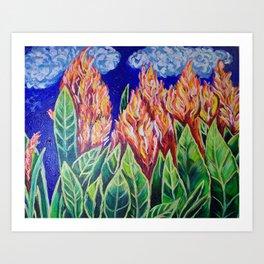 Orange Celosia Flowers Art Print