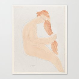 Auguste Rodin Nude Figure Lithograph #2 Canvas Print