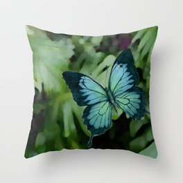 Tropical Blue Ulysses Butterfly Throw Pillow