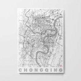 Chongqing Map Line Metal Print