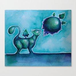 Tiny Cat Smelling a Tiny Planet Canvas Print