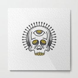 Skull Study - White Metal Print