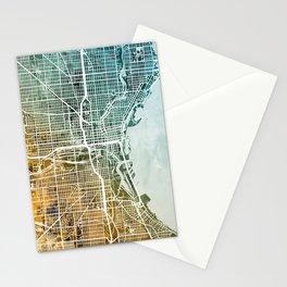 Milwaukee Wisconsin City Map Stationery Cards