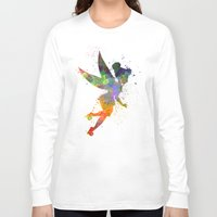 tinker bell Long Sleeve T-shirts featuring Tinker bell in watercolor by Paulrommer