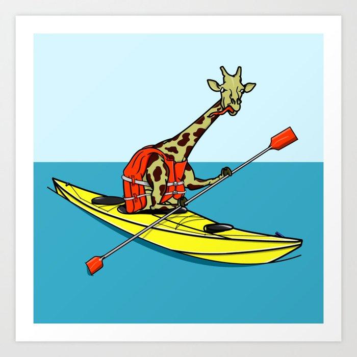 Giraffe Sea Kayaking Kunstdrucke