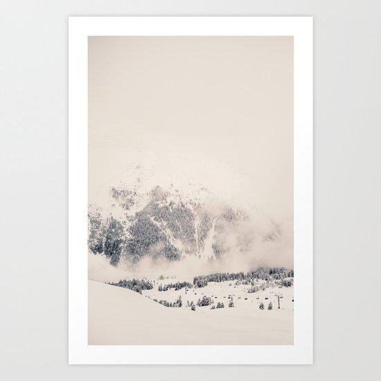 White Winter Mountains In Snow Art Print