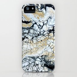 Bold Black Gold & White Abstract iPhone Case