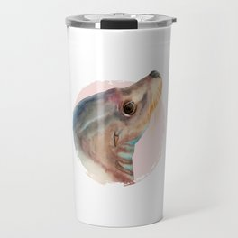Lazy Glance - Sea Lion Watercolor Painting Travel Mug