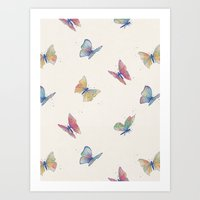 butterflies Art Prints featuring Butterflies by Tracie Andrews