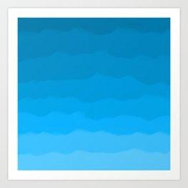 Happy Blue Ocean Waves Ombre Art Print