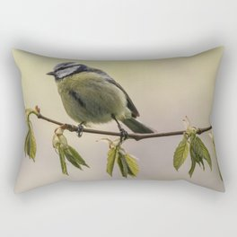 Yellow and blue tit on the branch Rectangular Pillow