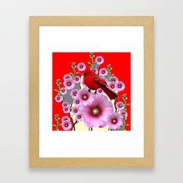 MODERN  RED ART PINK HOLLYHOCKS & RED CARDINAL BIRD Framed Art Print