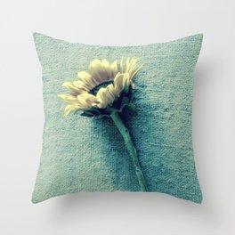 Sunflower on Denim Blue Throw Pillow