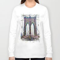 brooklyn bridge Long Sleeve T-shirts featuring brooklyn bridge by Vector Art