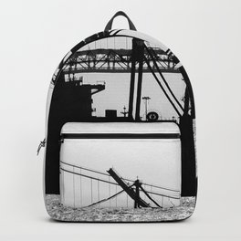 Metallic Architectures Docked Cargo Ships Backpack