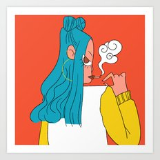 Blue hair girl Art Print