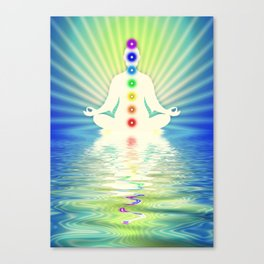 In Meditation With Chakras - Blue Ocean Canvas Print