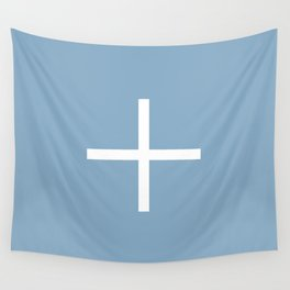 white cross on placid blue background Wall Tapestry