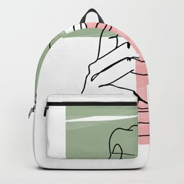 One continuous single drawn line art doodle curl loving kissing couple, kiss, love, hugs Backpack
