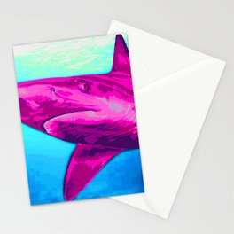 Painted Pink Shark Stationery Cards