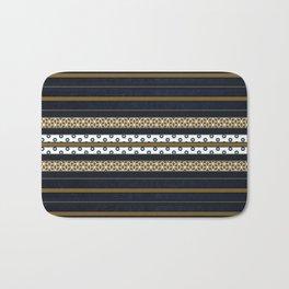 Navy Blue Gold Multi Pattern Stripe Print Bath Mat