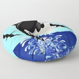 Orca Killer Whale jumping out of Ocean Floor Pillow