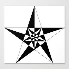 black and white geometric star Canvas Print