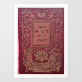 Antique Book Cover * Literacy Art for Book Lovers * Don Quixote * Red * Gold #donquixote Art Print
