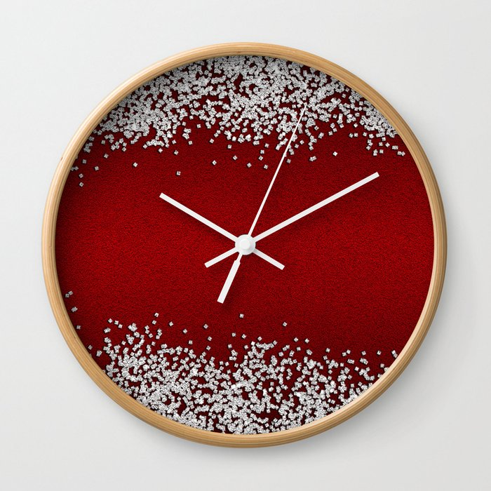 Shiny Red Texture With Silver Sparkles Wall Clock