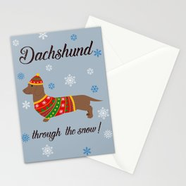 Dachshund through the snow - christmas jumper Stationery Cards
