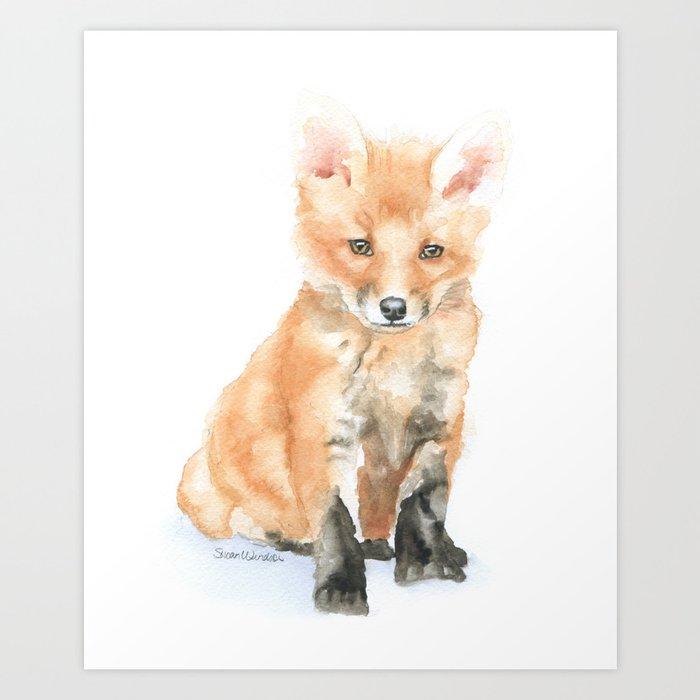 Baby Fox Watercolor Painting - Woodland Animal Art Print ...