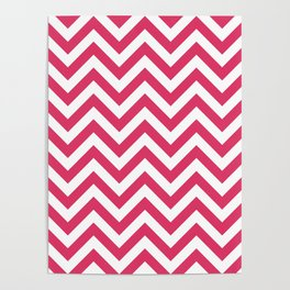 Cerise Red Chevrons Pattern Poster