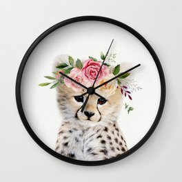 Baby Cheetah with Flower Crown Wall Clock