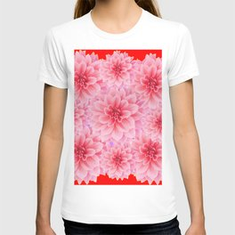 PINK DAHLIA FLOWERS IN RED COLOR ART T-shirt