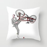 pee wee Throw Pillows featuring Pee Wee Herman #3 by Christian G. Marra