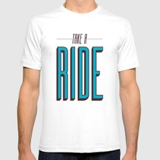 Take A Ride SMALL White Mens Fitted Tee