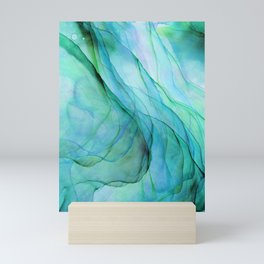 Sea Green Flowing Waves Abstract Ink Painting Mini Art Print