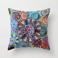 rave Throw Pillows featuring Rave by Emilie Darlington
