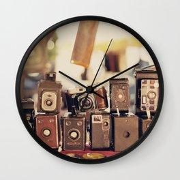 Old Cameras (Vintage and Retro Film Cameras Collection) Wall Clock
