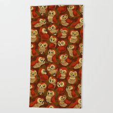 Northern Saw-whet owls pattern. Beach Towel