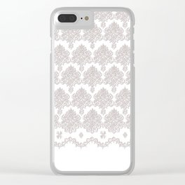 Off-White Damask Chenille with Lace Edge Clear iPhone Case